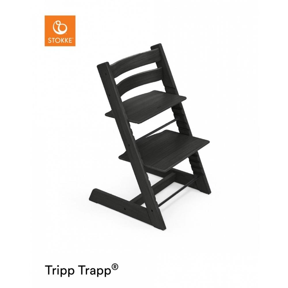 Chaise haute ch ne b b volutive tripp trapp noire de for Chaise haute evolutive bebe