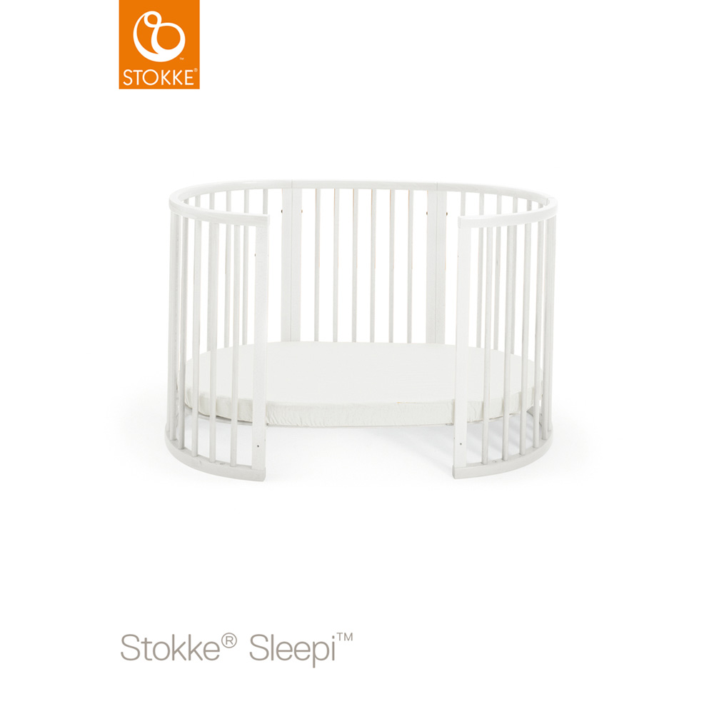 lit sleepi 120 cm blanc de stokke sur allob b. Black Bedroom Furniture Sets. Home Design Ideas