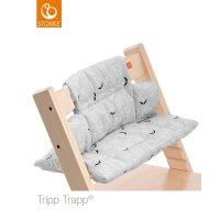 Coussin fauteuil bébé tripp trapp feuilles grises
