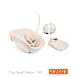 Set textile nouveau né tripp trapp ecossais beige