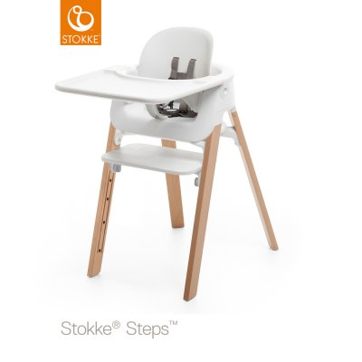 Tablette chaise steps blanc Stokke
