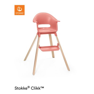 Chaise haute bébé clikk corail ensoleillé Stokke