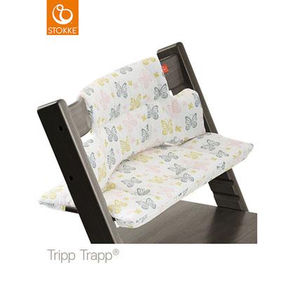 Coussin fauteuil bébé tripp trapp papillons pastel Stokke