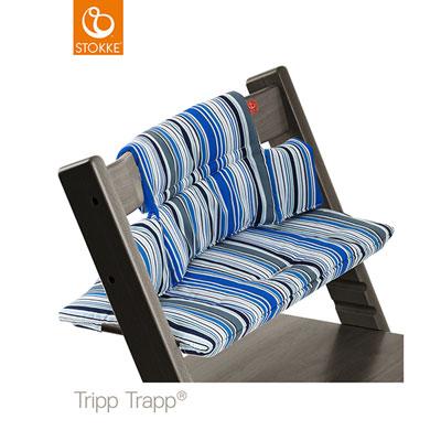 Coussin fauteuil bébé tripp trapp rayures marine Stokke