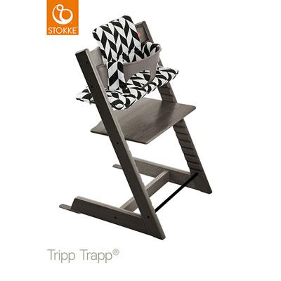 Coussin fauteuil bébé tripp trapp chevrons noir Stokke