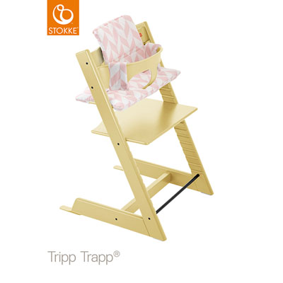 Coussin fauteuil bébé tripp trapp chevrons rose Stokke