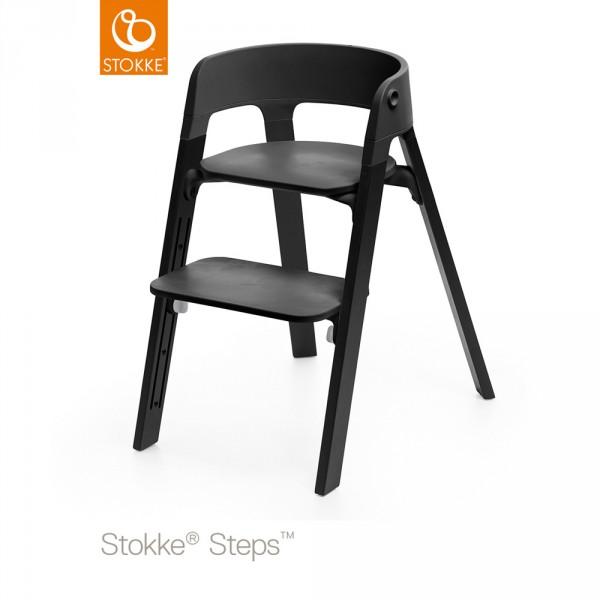 assise pour la chaise haute steps noir sur allob b. Black Bedroom Furniture Sets. Home Design Ideas