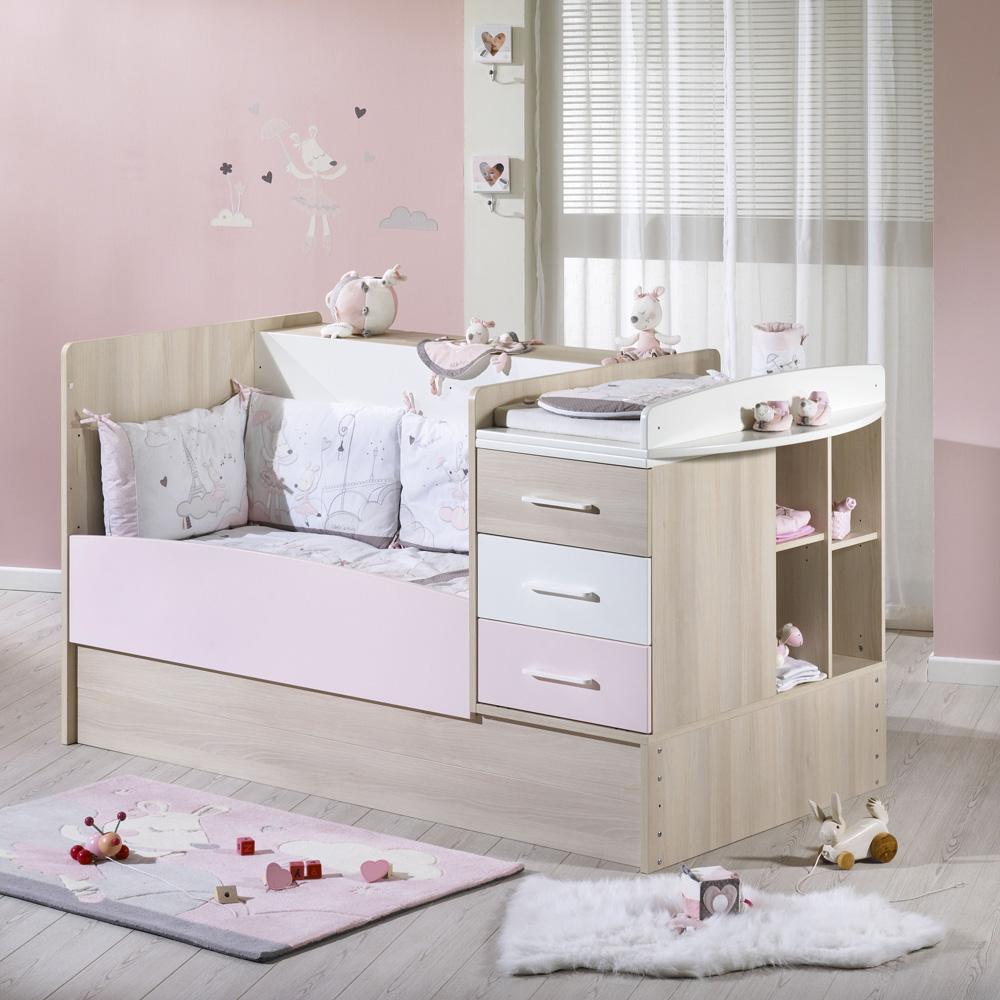 sauthon meubles lit chambre transformable 70x140cm milk rose. Black Bedroom Furniture Sets. Home Design Ideas