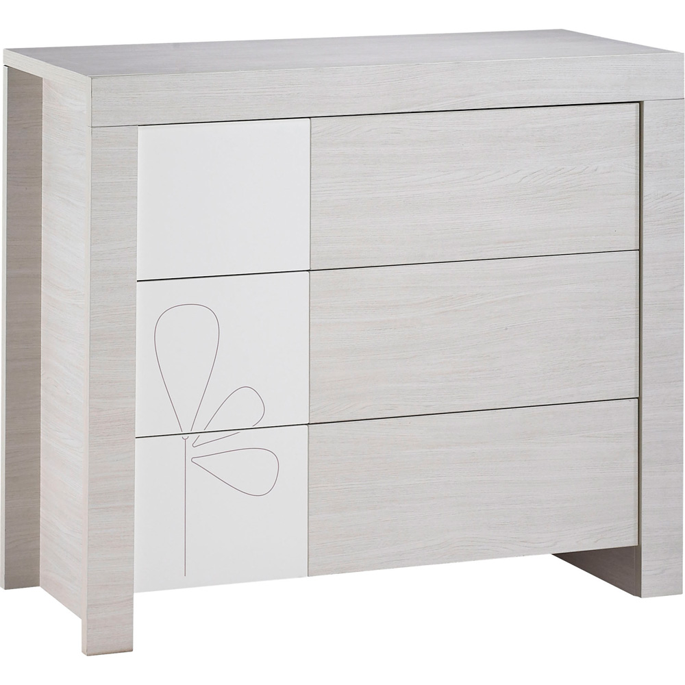 Chambre b b duo opale blanc avec motif lit commode 31 for Commode chambre bebe