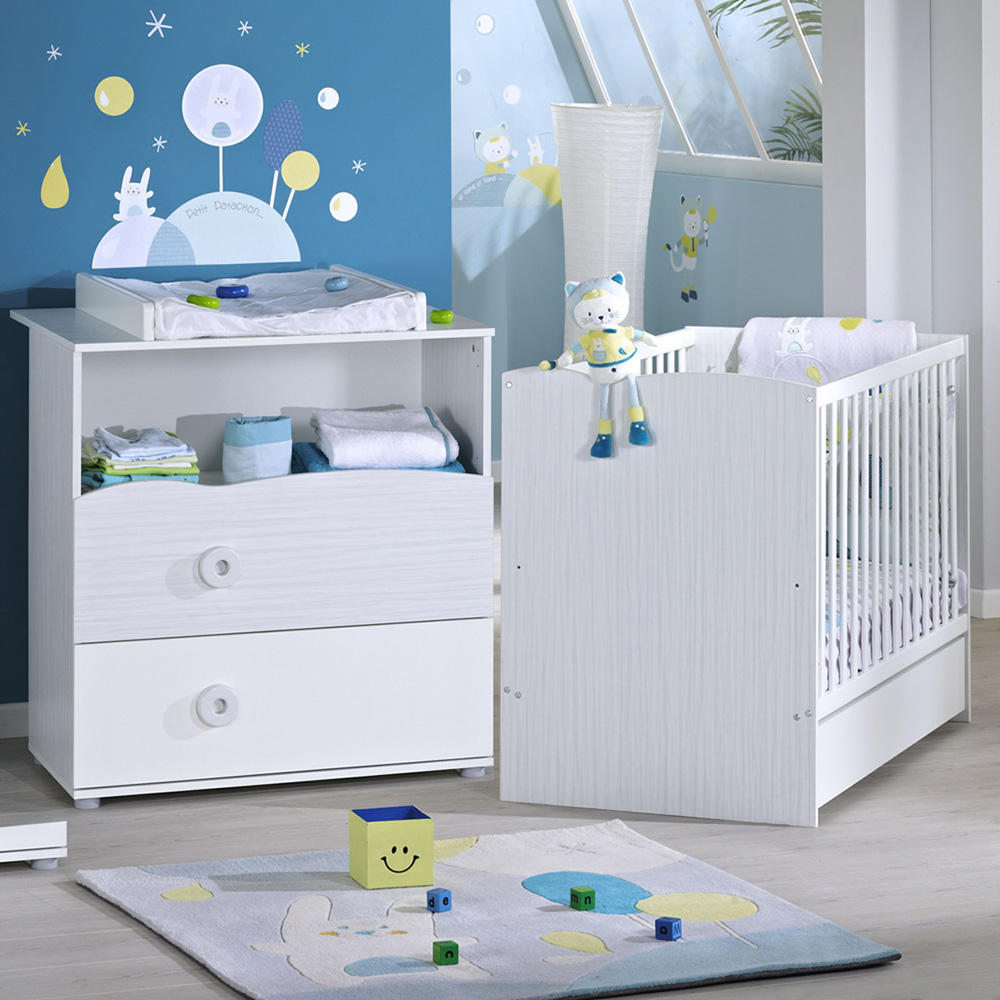 Chambre b b duo nino lit commode de sauthon meubles sur for Collection chambre bebe