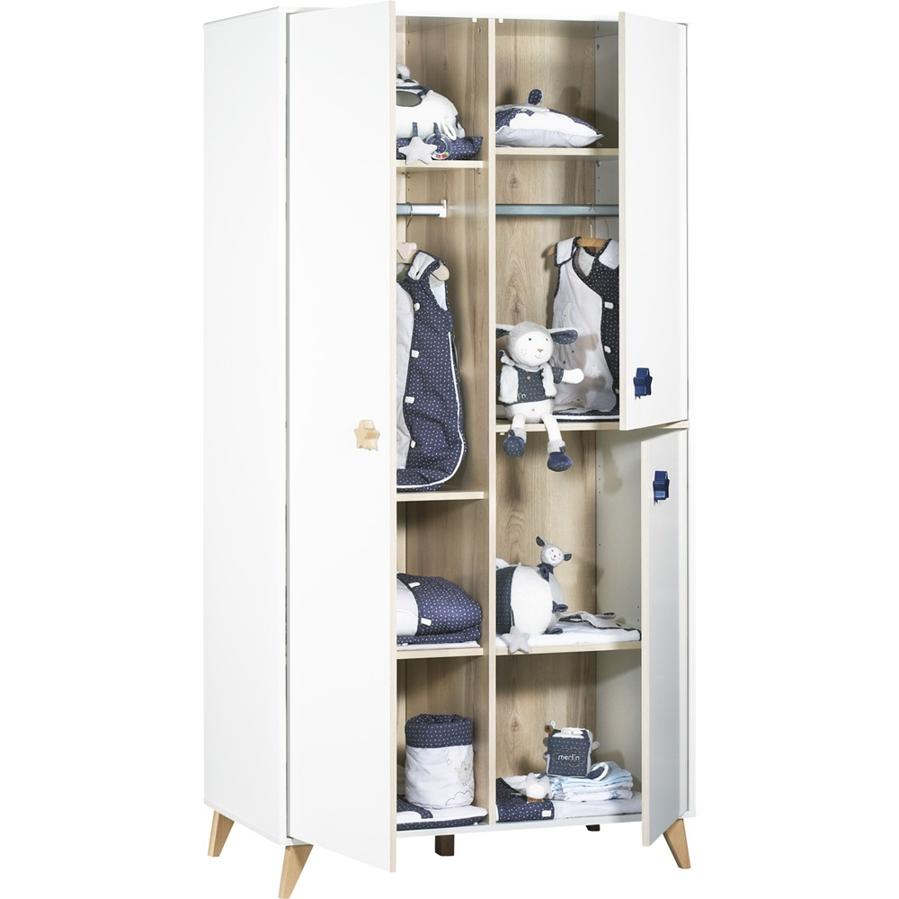 chambre b b trio lit commode armoire oslo bouton toile de sauthon meubles sur allob b. Black Bedroom Furniture Sets. Home Design Ideas