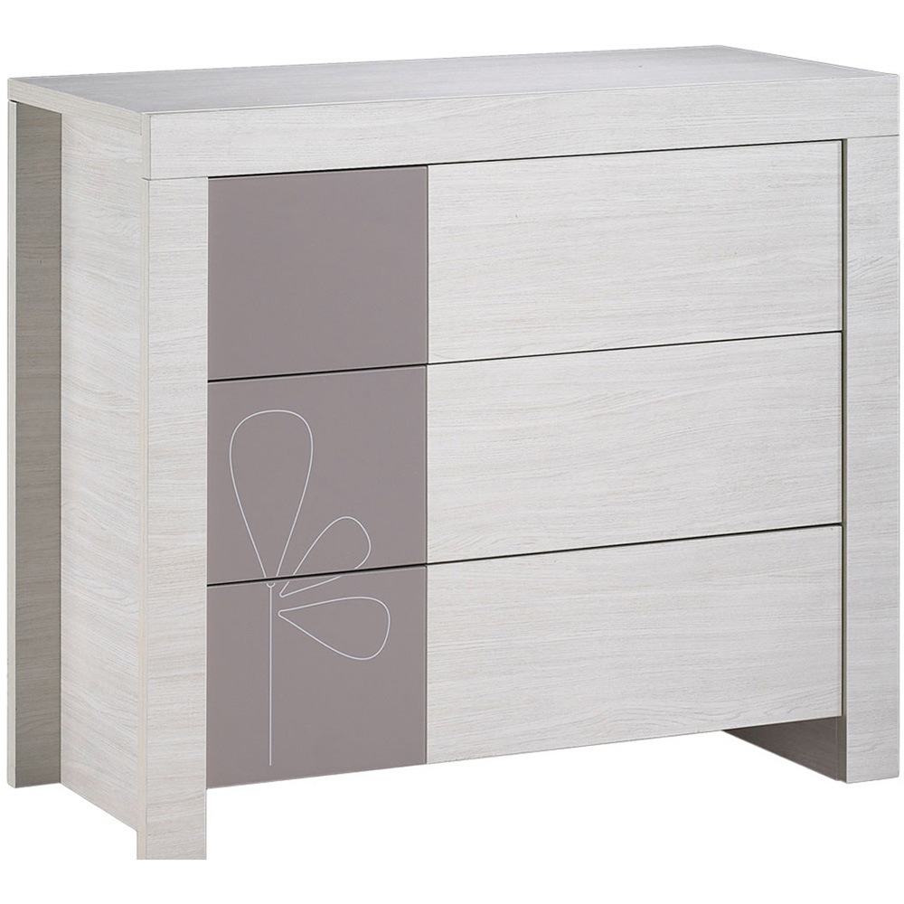 Commode b b 3 tiroirs opale taupe avec motif 30 sur allob b - Commode couleur taupe ...