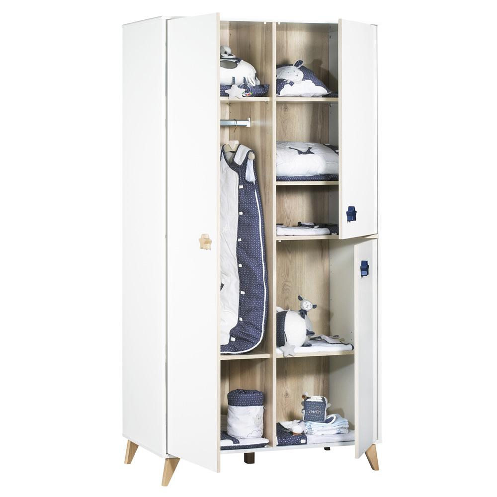 Armoire chambre b b oslo boutons toile de sauthon meubles sur allob b - Bouton meuble bebe ...
