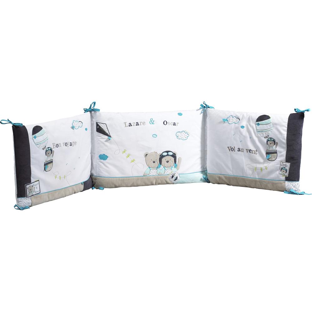 Tour de lit lazare de sauthon baby deco sur allob b for Housse tour de lit