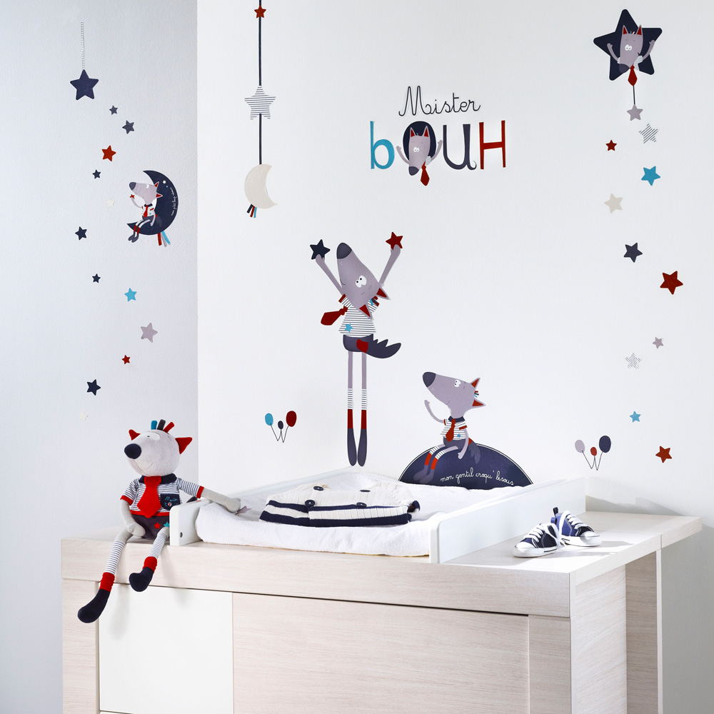 stickers muraux mister bouh de sauthon baby deco en vente chez cdm. Black Bedroom Furniture Sets. Home Design Ideas