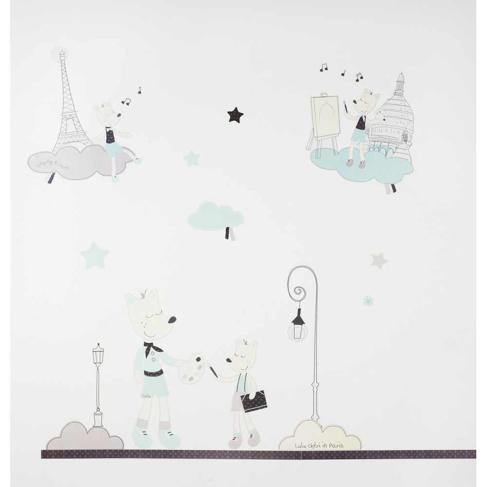 stickers chambre b b lulu ch ri de sauthon baby deco sur allob b. Black Bedroom Furniture Sets. Home Design Ideas