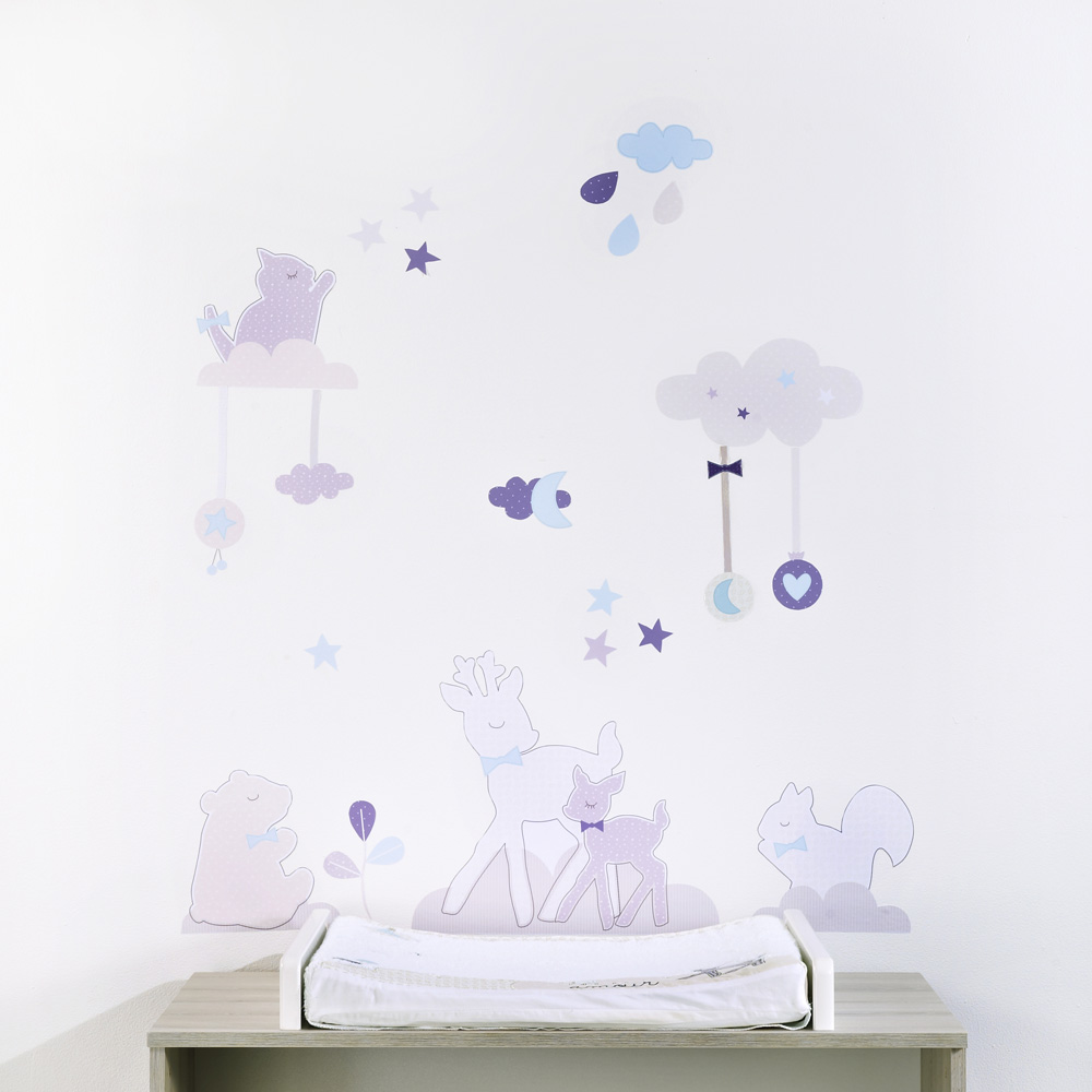 Stickers chambre b b noisette 40 sur allob b - Stickers repositionnables chambre bebe ...