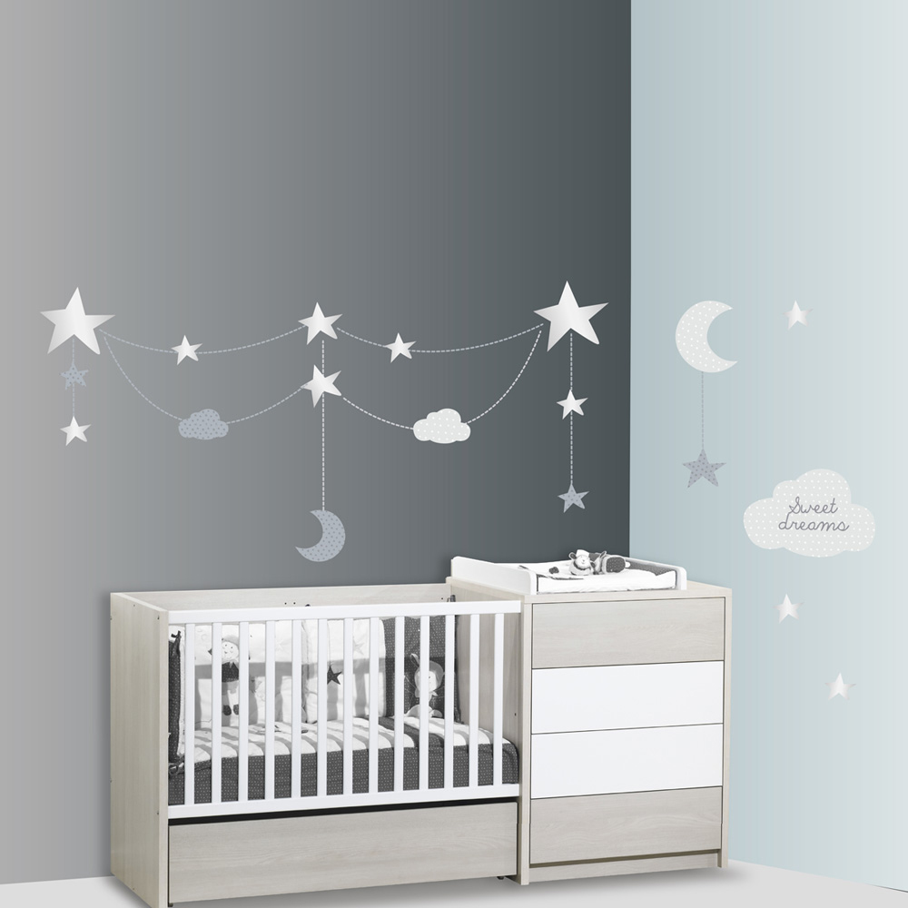 stickers chambre b b xxl nuage c leste de sauthon baby deco sur allob b. Black Bedroom Furniture Sets. Home Design Ideas