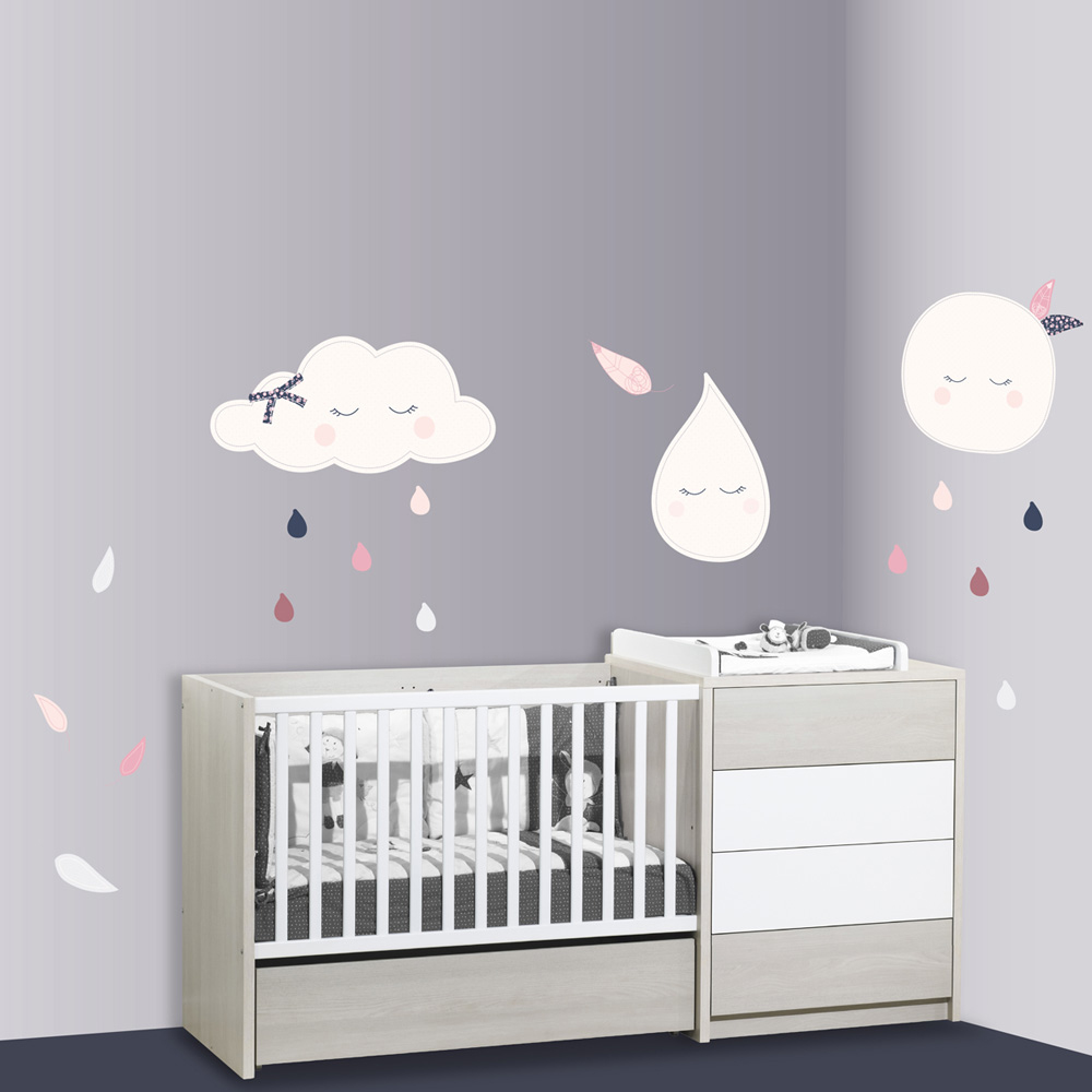 stickers chambre b b xxl lune miss chipie de sauthon baby deco sur allob b. Black Bedroom Furniture Sets. Home Design Ideas