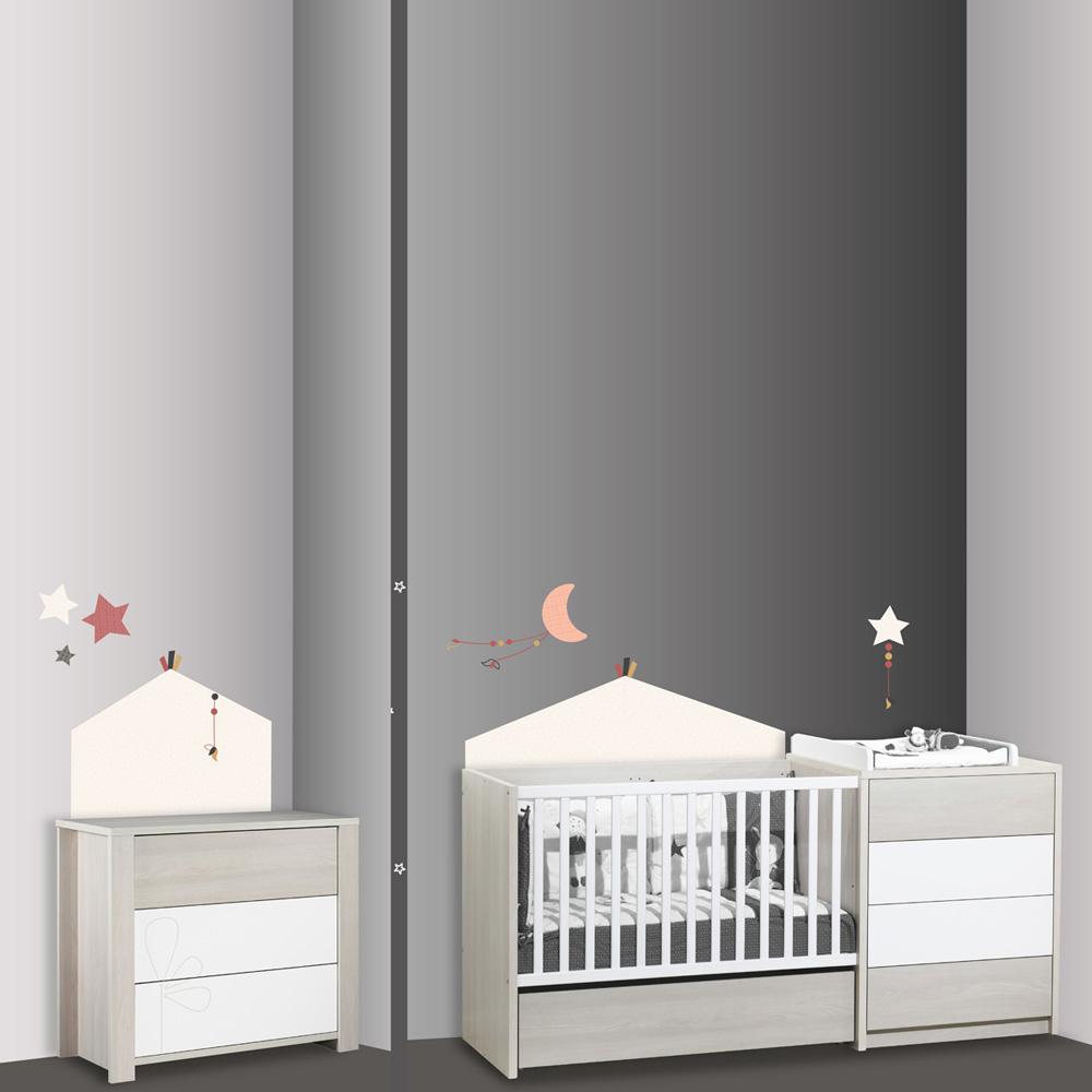 stickers chambre b b home timouki de sauthon baby deco sur allob b. Black Bedroom Furniture Sets. Home Design Ideas