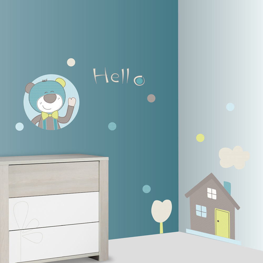 stickers chambre b b xxl ours paddy de sauthon baby deco sur allob b. Black Bedroom Furniture Sets. Home Design Ideas