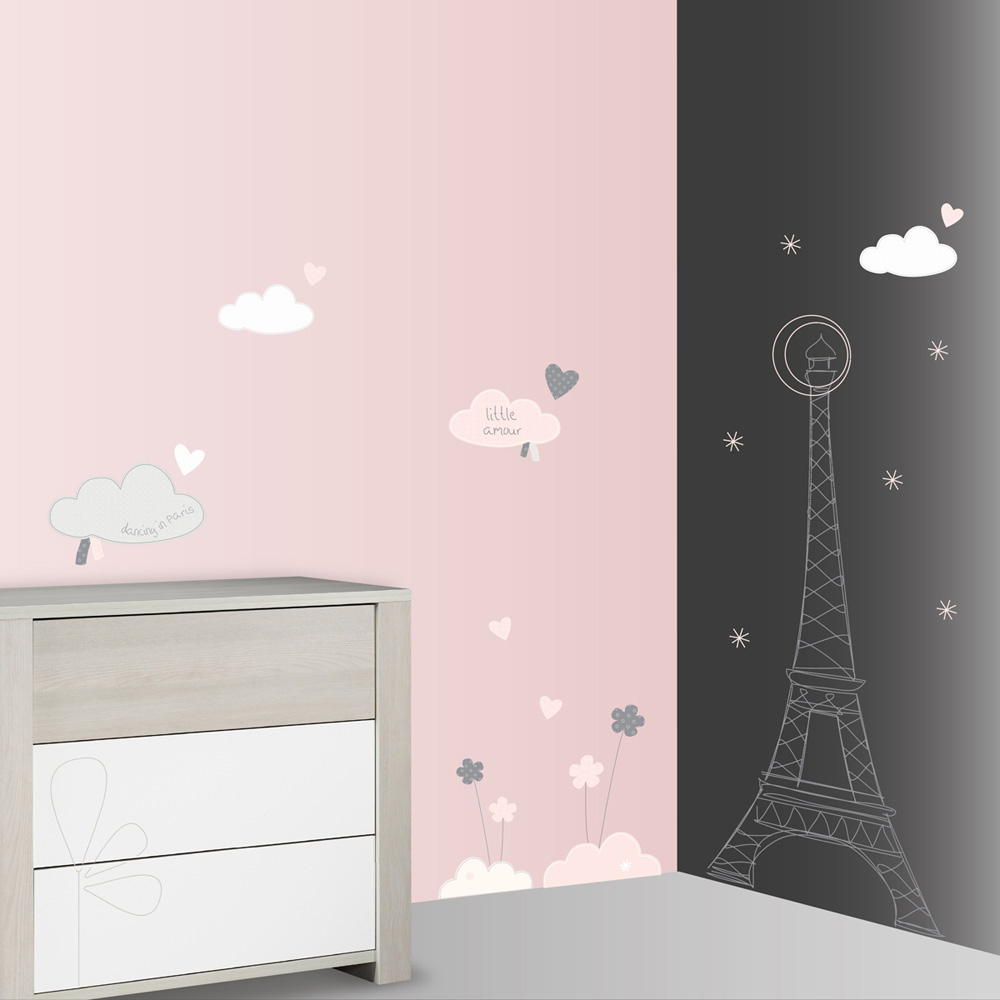 stickers chambre b b xxl nuage lilibelle de sauthon baby deco sur allob b. Black Bedroom Furniture Sets. Home Design Ideas