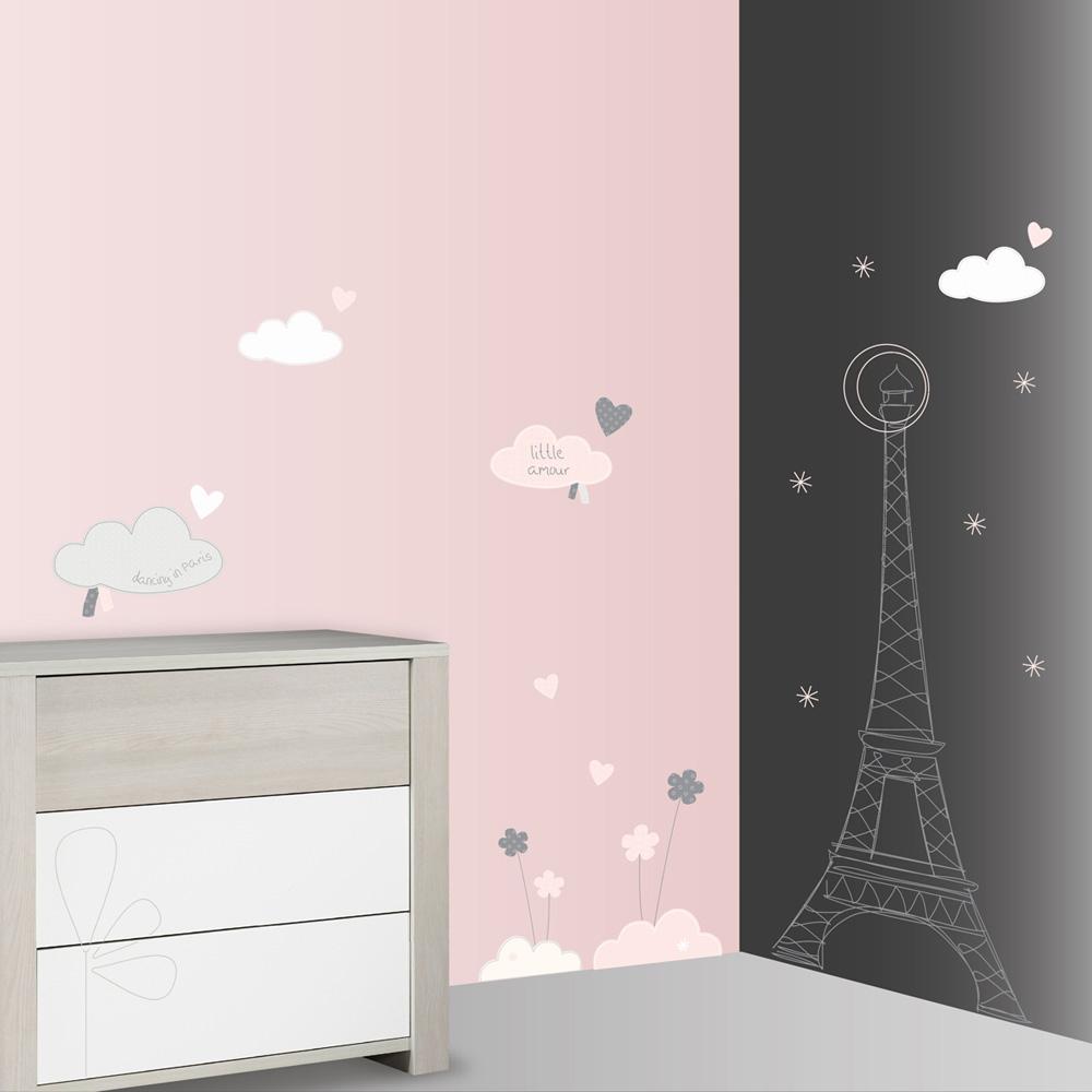 stickers chambre b b xxl nuage lilibelle de sauthon baby. Black Bedroom Furniture Sets. Home Design Ideas