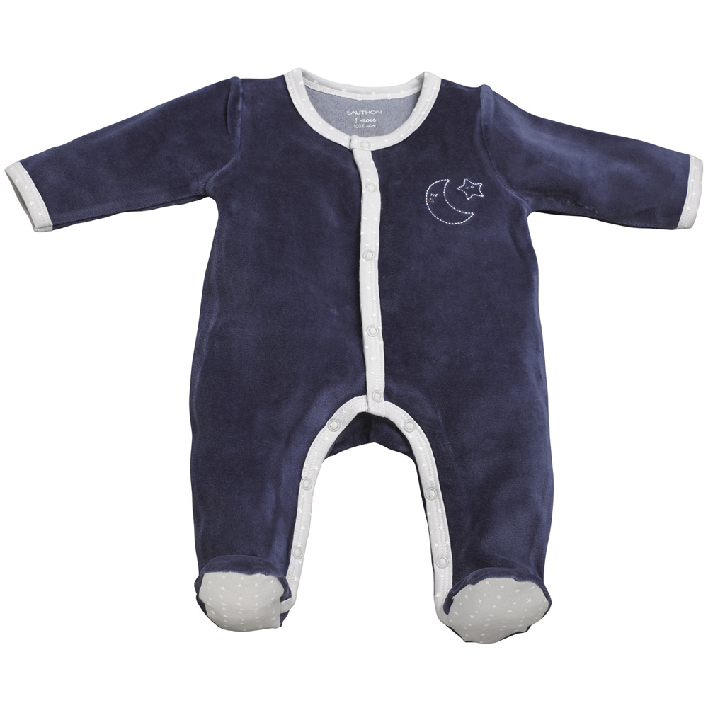 pyjama b b velours merlin bleu de sauthon baby deco en vente chez cdm. Black Bedroom Furniture Sets. Home Design Ideas
