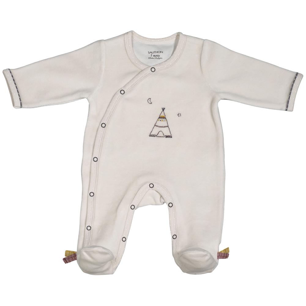 pyjama b b velours timouki beige de sauthon baby deco chez naturab b. Black Bedroom Furniture Sets. Home Design Ideas