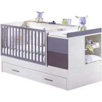 Lit bébé 70 x 140 cm transformable opale figue sans motif