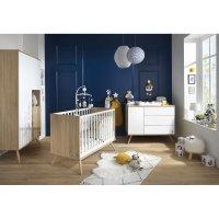 Chambre bébé trio lit 60x120cm + commode + armoire seventies blanc