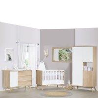 Chambre bébé trio lit 60x120+commode+armoire seventies blanc et bois