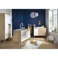 Chambre bébé duo lit 60x120cm + commode seventies blanc et bois