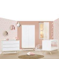Chambre bébé trio lit 60x120cm + commode + armoire serena