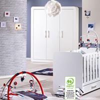 Chambre bébé duo astride blanc 2 éléments lit et armoire 3 portes