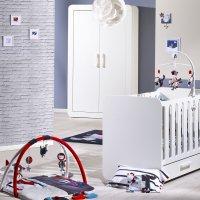 Chambre bébé duo astride blanc 2 éléments lit et armoire 2 portes