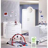 Chambre bébé trio astride blanc avec armoire 2 portes