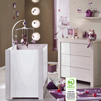 Chambre bébé duo opale blanc avec motif lit + commode