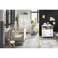 Chambre bébé trio lit + commode + armoire oslo bouton goutte