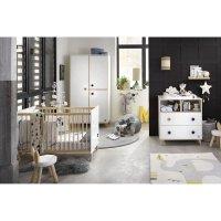 Chambre bébé trio lit + commode + armoire oslo bouton étoile