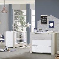 Chambre bébé duo opale frêne sablé avec motif lit + commode
