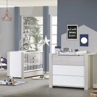 Chambre bébé duo opale frêne sablé sans motif lit + commode