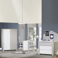 Chambre bébé trio opale frêne sablé avec motif lit + commode + armoire 2 portes