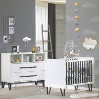 Chambre bébé duo lit + commode graphite
