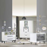 Chambre bébé trio lit + commode + armoire graphite