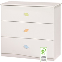 Commode 3 tiroirs nature blanc