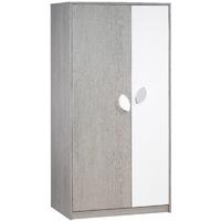 Armoire 2 portes leaf frêne gris blanc
