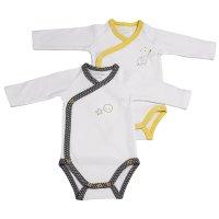 Lot de 2 bodies babyfan blanc/gris et blanc/jaune