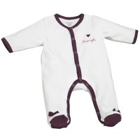 Pyjama bébé velours mam'zelle bou blanc/violet