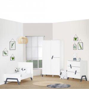 Chambre bébé trio lit 60x120cm + commode + armoire graphic